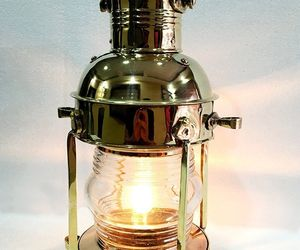 "15"" Gold Brass Vintage Style Nautical Ship Electric Lantern Maritime Home Decor, an item from the 'Let There Be Light!' hand-picked list"