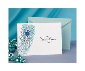 50 Peacock Feather Wedding Thank You Cards Thank you Notes, an item from the 'A Reception to Remember' hand-picked list