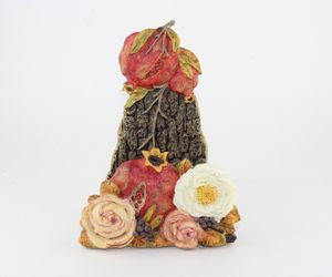 Autumn Harvest Floral Pomegranate Table Napkin Organizer Holder, an item from the 'Thanksgiving Table Decorations' hand-picked list