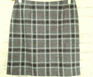 "women's Petite Sophisticate gray/white/red plaid skirt waist 30"", an item from the 'Mad for Plaid' hand-picked list"