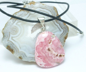 Pink Rhodochrosite Natural Gemstone Sterling Pendant Black Leather Cord, an item from the 'Cool Stuff' hand-picked list