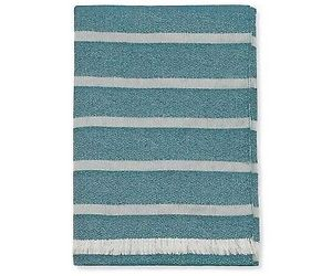 Sferra Marice Blue Striped Throw Blanket Peacock Ivory Fringed Wool Silk NEW, an item from the 'Quilts and Throws' hand-picked list