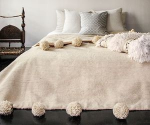 Moroccan Pom Pom Blanket Wool, Queen size bed, Large Pom Poms Bohemian bed cover, an item from the 'Hygge Life' hand-picked list