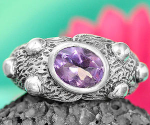 Solid 925 Sterling Silver Ring Genuine Amethyst Gemstone Jewelry US Size 7.5, an item from the 'Purple Passion' hand-picked list