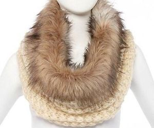 Faux Fur Trimmed Cowl -Knit Scarf New Without Tag, an item from the 'To Infinity (Scarf) and Beyond' hand-picked list