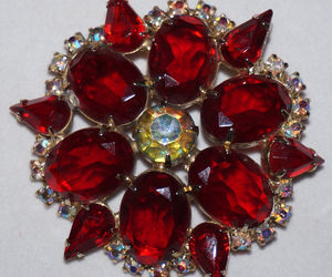 High End Vintage Red Rhinestone Brooch Pin Prong Set Foiled Unfoiled Stones, an item from the 'Vintage Christmas Bling' hand-picked list