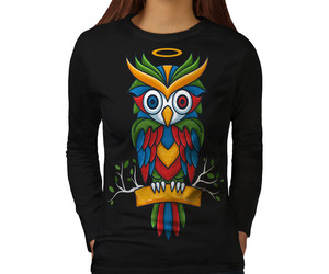 Bright Colorful Owl Tee Nature Bird Women Long Sleeve T-shirt, an item from the 'Owl Aboard!' hand-picked list