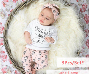 3Pcs Infant Clothing Set Newborn Baby Girls Clothes Long Sleeve Letter Daddy's l, an item from the 'Community Picks: Shower Me With Love!' hand-picked list