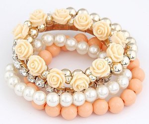 Bohemian Fashion Candy Color Pearl Rose Flower Multilayer Beads Stretch Charm Br, an item from the 'Orange Dreamsicle Dreams' hand-picked list