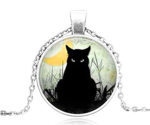 BLACK CAT STARES CABOCHON NECKLACE >>    WE COMBINE SHIPPING   (1643) , an item from the 'Cute Bats and Black Cats' hand-picked list