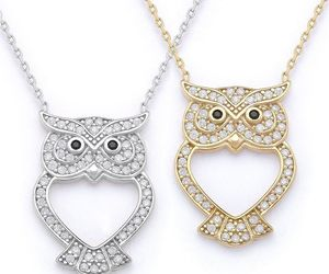Owl Animal Charm CZ Crystal Luck Pendant & Chain Necklace in 925 Sterling Silver, an item from the 'Owl wear that' hand-picked list