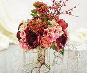 Artificial Silk Flower Nostalgic Tea Rose Berry Mash Bridal Bouquet, an item from the 'A Reception to Remember' hand-picked list