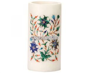 4''x2'' White Marble Pen Holder Lapis Floral Inlay Study Room Home Decor Gifts, an item from the 'Home Decor' hand-picked list