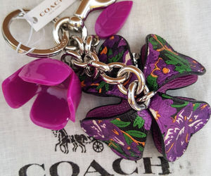 COACH 3D Purple Rose Leather and Resin Flower Bag Charm Key Ring w/dustbag, an item from the 'Purple Passion' hand-picked list