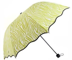 Aoosir Zebra Stripes UPF 50+ Sun Umbrella, Apple Green, an item from the 'Community Picks: April Showers...' hand-picked list