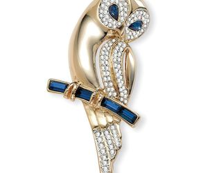 PalmBeach Jewelry Blue and Clear Crystal Owl Pin in Yellow Gold Tone, an item from the 'Owl wear that' hand-picked list