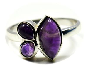 Silver Ring Real Amethyst Chakra Healing Marquise Pear Size 5,6,7,8,9,10,11,12, an item from the 'Unique Handmade & Handcrafted Jewelry' hand-picked list