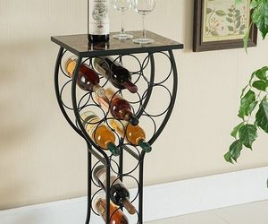Wine Bottle Storage Table bar metal display rack organize marble top glass shape, an item from the 'Let's Put Things in Order' hand-picked list