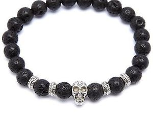 Black Lava Stone Stretch Beaded Bracelet With Nickel Skull And Nickel Accents, an item from the 'Supernatural Woman' hand-picked list