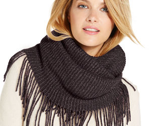 New INC International Concepts Fringe & Shine Lurex Womens Loop Tube Scarf Black, an item from the 'To Infinity (Scarf) and Beyond' hand-picked list