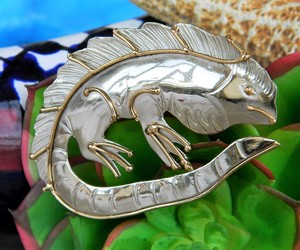 Iguana Lizard Mixed Metal Brooch Pin Handcrafted Silver Gold Tone OOAK, an item from the 'Unique Handmade & Handcrafted Jewelry' hand-picked list