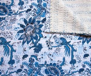 Queen Size Double Bed size 90x108 Indian hand blocked Kantha Quilt Kantha Bedcov, an item from the 'Quilts and Throws' hand-picked list