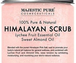 Majestic Pure Himalayan Salt Body Scrub With Lychee Essential Oil, All Natural, an item from the 'Blissful Baths' hand-picked list