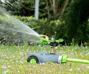 YeStar Lawn Sprinkler System, Adjustable 360° Rotating Portable Garden Impulse, an item from the 'Garden Tools' hand-picked list