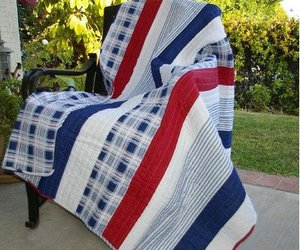 NAUTICAL STRIPE  QUILTED AFGHAN THROW COASTAL  RED WHITE AND BLUE, an item from the 'Quilts and Throws' hand-picked list