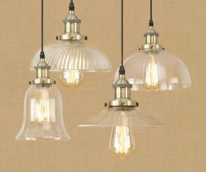 20th C. Clear Glass Filament Pendant E27 Light Ceiling Lamp Home Cafe Lighting, an item from the 'Let There Be Light!' hand-picked list