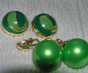 Vintage Lot Light & Dark Green Enamel Swirl Dome & Large Metallic Bead Dangle, an item from the 'Vintage Christmas Bling' hand-picked list