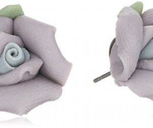1928 Jewelry Classic Lavender Purple Porcelain Rose Post Stud Earrings, an item from the 'Purple Passion' hand-picked list