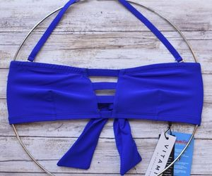 VITAMIN A SWIMWEAR NEUTRA BANDEAU BIKINI TOP ECOLUX AZURE BLUE 60T 8/M NWT $105, an item from the 'Swimwear' hand-picked list
