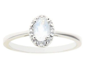 MOONSTONE DIAMOND HALO ENGAGEMENT RING OVAL SHAPE 925 STERLING SILVER .55 CARATS, an item from the 'The Sweetest Ring' hand-picked list