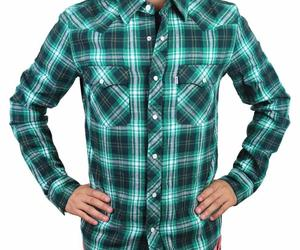 Levi's Men's Classic Western  Button Up Long Sleeve Plaid Green 3Lylw0062, an item from the 'The Kit and Caboodle ' hand-picked list