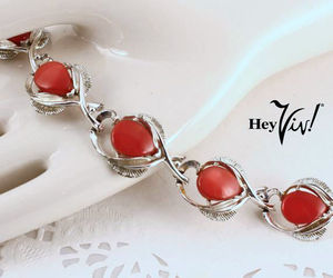 Star Brand Red Thermoset Vintage 40s Bracelet - Silver Curved Leaves - Hey Viv !, an item from the 'Vintage Christmas Bling' hand-picked list