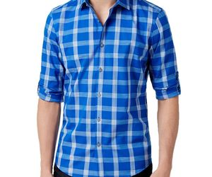 Alfani Men's Plaid Shirt, Hyper Blue, Size XXL, MSRP $55, an item from the 'Mad for Plaid' hand-picked list