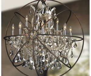 13-light D33''H35'' Chrome w/ Flemish Brass Cage Golden teak Crystal Chandelier, an item from the 'No Place Like Home' hand-picked list