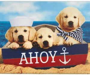 """ANTI-FATIGUE CUSHIONED FLOOR MAT (18"""" x 30"""") PVC, 3 DOGS ON THE BEACH, AHOY, an item from the 'Community Picks: Dog Days of Summer' hand-picked list"""