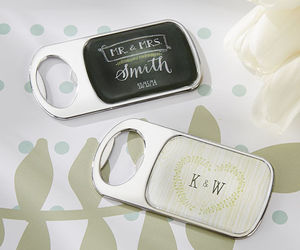 Personalized Chalk or Woodgrain Epoxy Metal Bottle Opener Bridal Wedding Favor, an item from the 'A Reception to Remember' hand-picked list