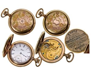 IL,Elgin-,0 Size Ladies 14K Multicolored Gold Elgin Pocket Watch with Diamond, an item from the 'Watch It!' hand-picked list