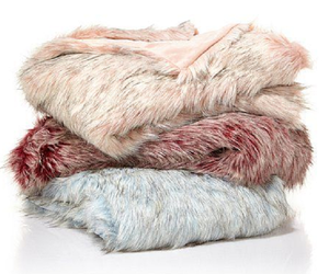 "A by Adrienne Landau Tip Dye Ombre Faux Fur Throw, Rose, Size 50""X70"", an item from the 'Hygge Life' hand-picked list"