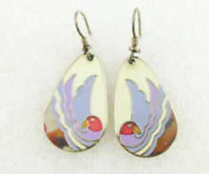 "LAUREL BURCH ""Sea Bird"" Enamel Silver-Tone Drop Dangle Hook EARRINGS - FREE SHIP, an item from the 'Community Picks: Spring has sprung' hand-picked list"