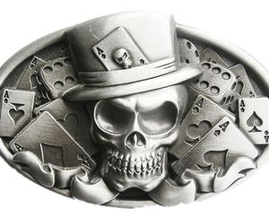 New Original Vintage Skull Tattoo Poker Casino Oval Belt Buckle also Stock in US, an item from the 'Skulduggery' hand-picked list