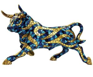 Barcino Carnival Large Bull Mosaic blue and gold Sculpture NEW, an item from the 'Add a POP of COLOR to your room' hand-picked list