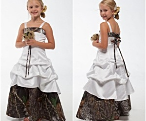 New Camo Flower Girl Dresses White And Camouflage, an item from the 'Girls Formal Occasion' hand-picked list