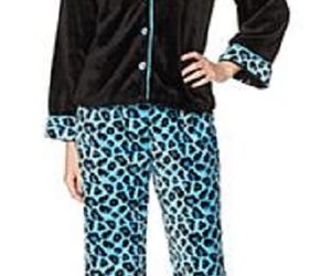 Soft Cozy ButtonDown Pajama Set, Aqua Leopard, Size XS/S, an item from the 'Girls Night In' hand-picked list