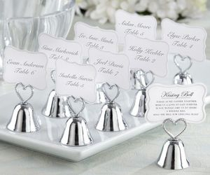 48 Silver Heart Kissing Bell Place Card Photo Holder Bridal Wedding Favor, an item from the 'A Reception to Remember' hand-picked list