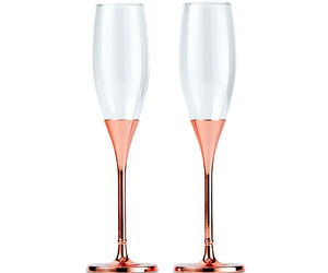 PERSONALIZED Toasting Champagne Flutes Rose Gold Rhinestone Crystal Wedding, an item from the 'A Reception to Remember' hand-picked list