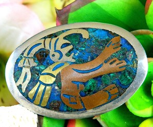 Vintage Metales Casados Mexico Sterling Silver Inlay Brooch Pendant, an item from the 'Unique Handmade & Handcrafted Jewelry' hand-picked list